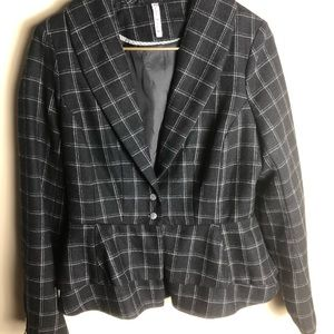 Willow & Clay Charcoal Plaid Blazer With Flounce
